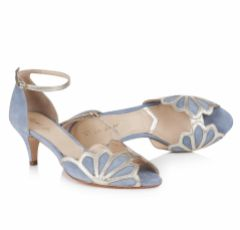 Rachel Simpson Isadora Dusky Blue Suede Low Heel Ankle Strap Sandals
