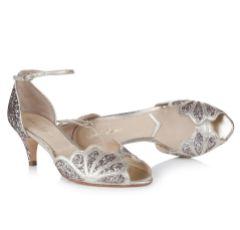 Rachel Simpson Isadora Quartz Glitter Low Heel Ankle Strap Sandals