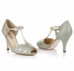 Rachel Simpson Mimosa Mint Leather Vintage T-Bar Wedding Shoes