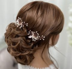 Romance Pearl and Crystal Rose Gold Leaves Hair Pin