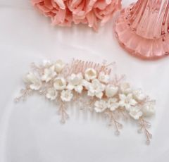 Rosewood Porcelain Flowers and Crystal Hair Comb (Rose Gold)