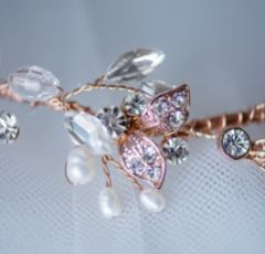 Roxanne Long Freshwater Pearl and Crystal Rose Gold Hair Vine