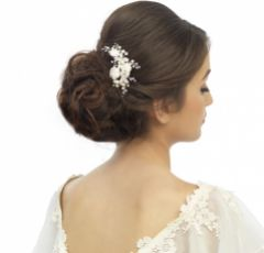 SassB Freya Luxe Floral Pearl and Diamante Bridal Hair Pin (Gold)
