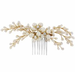 SassB Nita Freshwater Pearl Gold Wedding Hair Comb