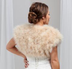Sophia Champagne Feather Bridal Bolero