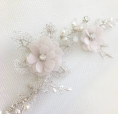 Tamsin Blush Flowers and Silver Lace Opal Crystal Hair Vine