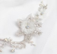 Tamsin Ivory Flowers and Silver Lace Opal Crystal Hair Vine