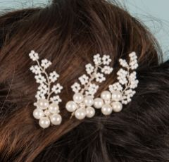 Taya Set of 3 Pearl Blossom and Beaded Sprigs Hair Pins (Silver)