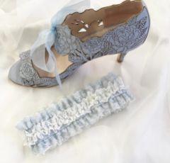 Temptation Powder Blue and Ivory Lace Wedding Garter