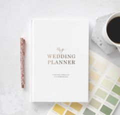 Dusty Blue and Gold Luxury Wedding Planner Book with Gilded Edges