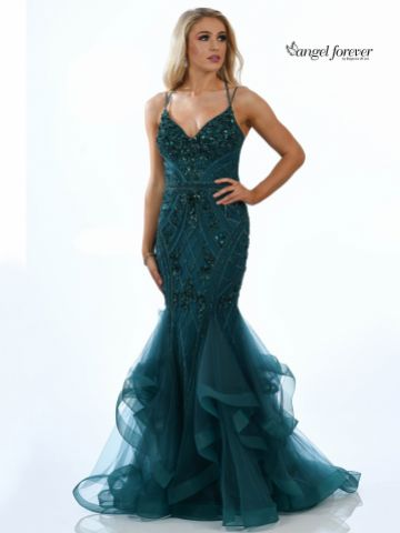 Angel Forever Embellished Mermaid Prom Dress with Spaghetti Straps (Emerald)
