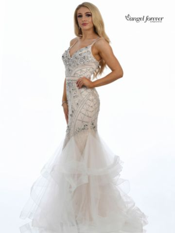 Angel Forever Embellished Mermaid Prom Dress with Spaghetti Straps (Ivory/Nude)