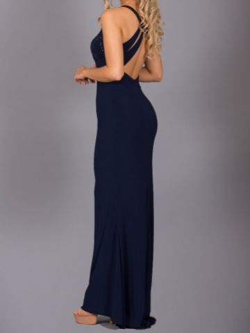 Angel Forever Halter Neck Low Back Fitted Jersey Prom Dress (Navy)