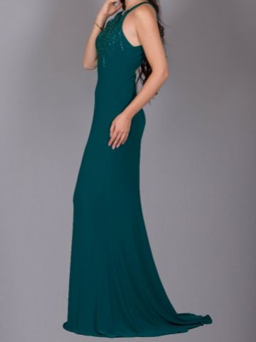 Angel Forever Halter Neck Low Back Fitted Jersey Prom Dress (Teal)