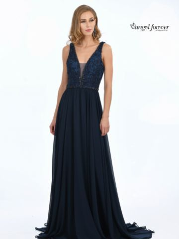 Angel Forever Beaded Lace V Neck A Line Chiffon Prom Dress (Navy)