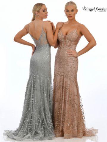 Angel Forever Shimmer Fabric V Neck Fitted Backless Prom Dress (Pale Blue)