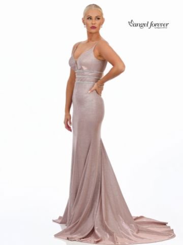 Angel Forever Shimmer Fabric Fishtail Prom Dress with Diamante Detail (Rose Gold)