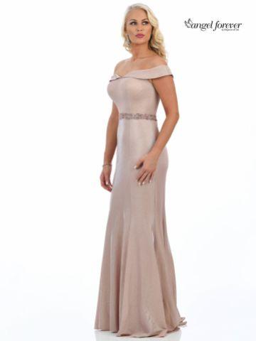 Angel Forever Shimmer Fabric Off The Shoulder Prom Dress (Rose Gold)