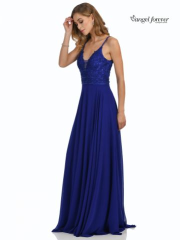 Angel Forever Beaded Lace A Line Chiffon Prom Dress with Slit (Royal Blue)