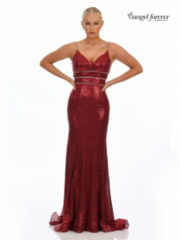 Angel Forever Fitted Sequin Prom Dress with Diamante Detail (Wine)