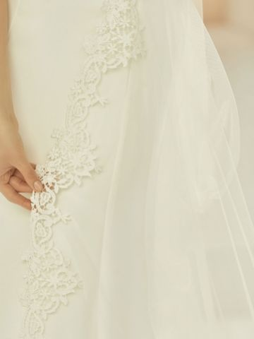 Bianco Ivory Single Tier Cut Edge Cathedral Veil with Lace Train S371