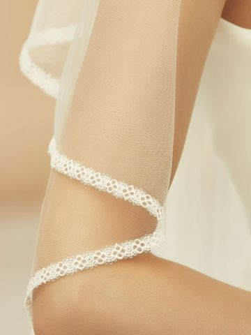 Bianco Ivory Waterfall Effect Fingertip Veil with Narrow Lace Edge S365