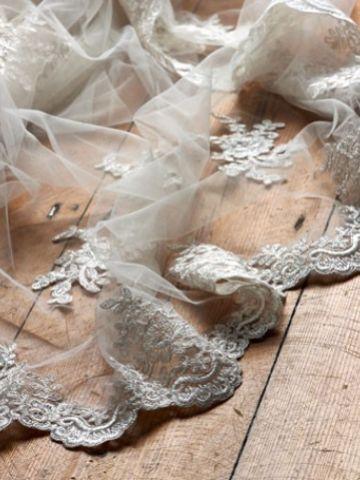 Joyce Jackson Bala Chapel Length Veil with Lace Motifs and Edging