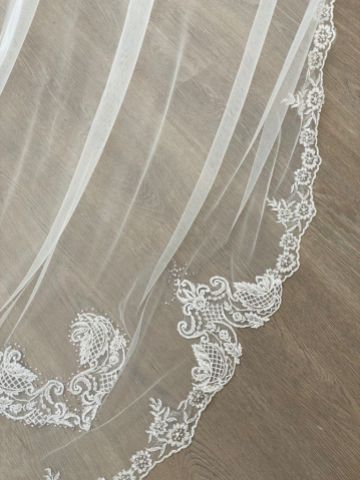 Joyce Jackson Bellagio Long Single Tier Beaded Lace Edge Veil with Heart Motifs