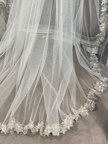 Joyce Jackson Honeychurch Bohemian Inspired Sequinned Floral Edge Veil