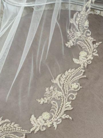 Joyce Jackson Mallow Art Deco Lace Edge Chapel Veil