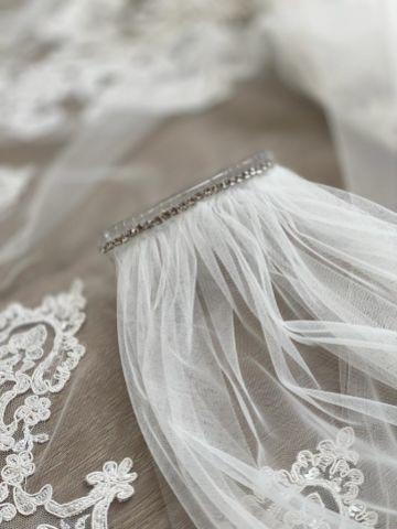 Joyce Jackson Sassari Long Single Tier Beaded Lace Edge Veil with Ornate Motifs