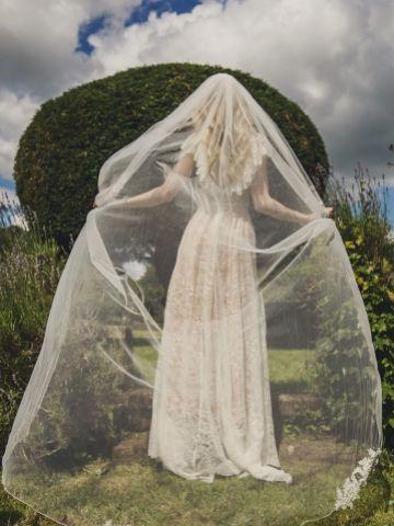 Joyce Jackson Winterberry Chapel Length Veil with Beaded Lace Motifs