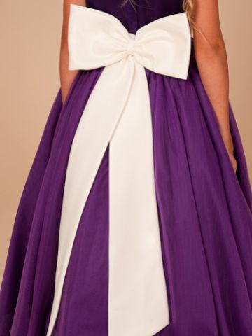 Linzi Jay Tulle Flower Girl Dress with Satin Sash and Bow FK052