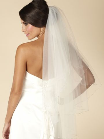 Linzi Jay Two Tier Fingertip Veil with Pearl and Beaded Edge LA929