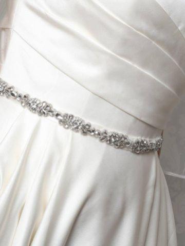 Perfect Bridal Elodie Slim Crystal Embellished Floral Dress Belt