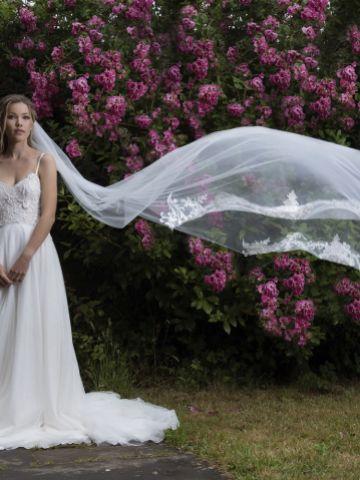 Joyce Jackson Candytuft Single Tier Veil with Lace Motifs