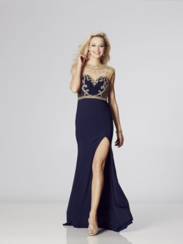 Tiffanys Illusion Prom Mercedes Beaded Jersey Prom Dress with Slit