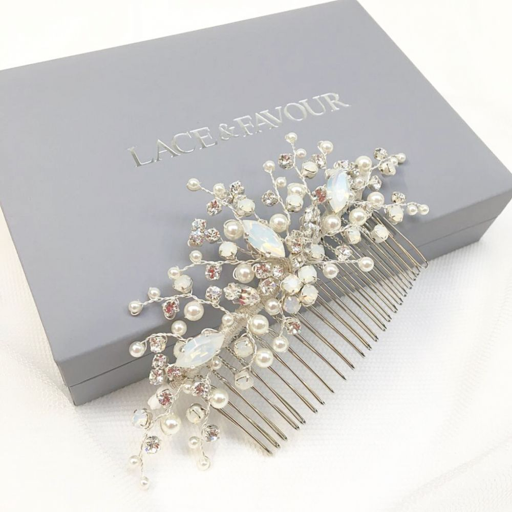Adeline Opal Crystal and Pearl Wedding Hair Comb