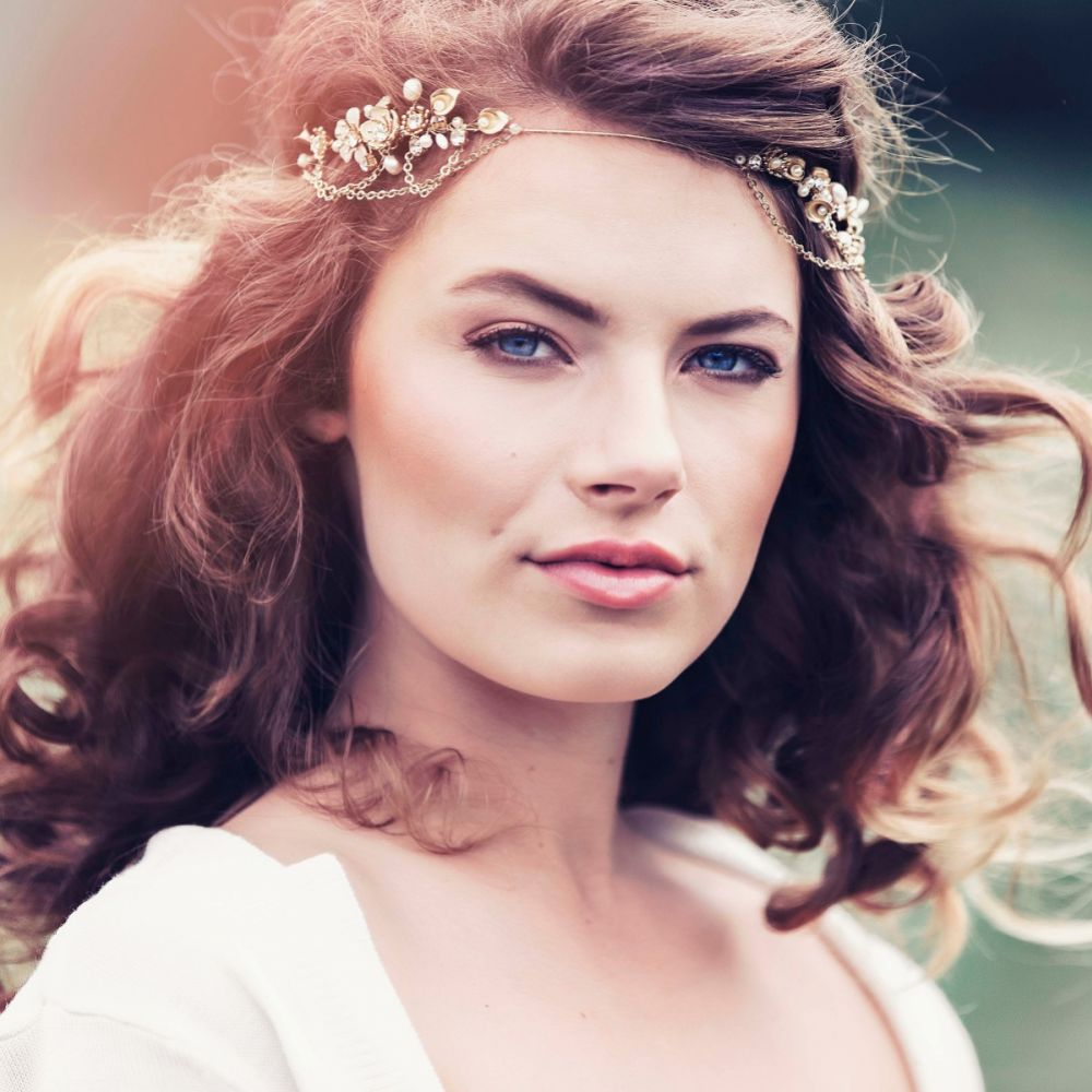 Adria Golden Flowers and Leaves Bohemian Bridal Headpiece