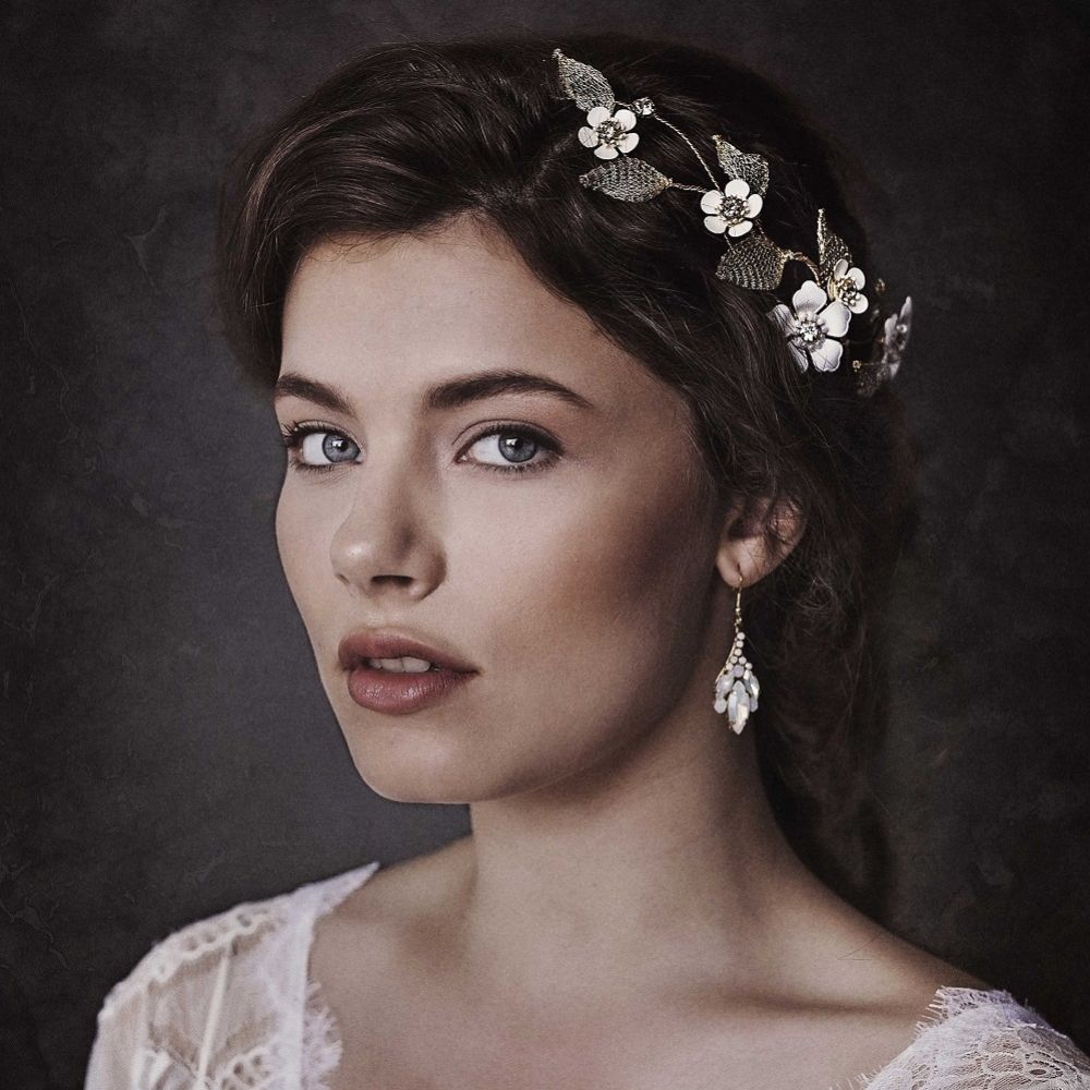 Alexandra Gold Wire Lace Floral Wedding Headpiece