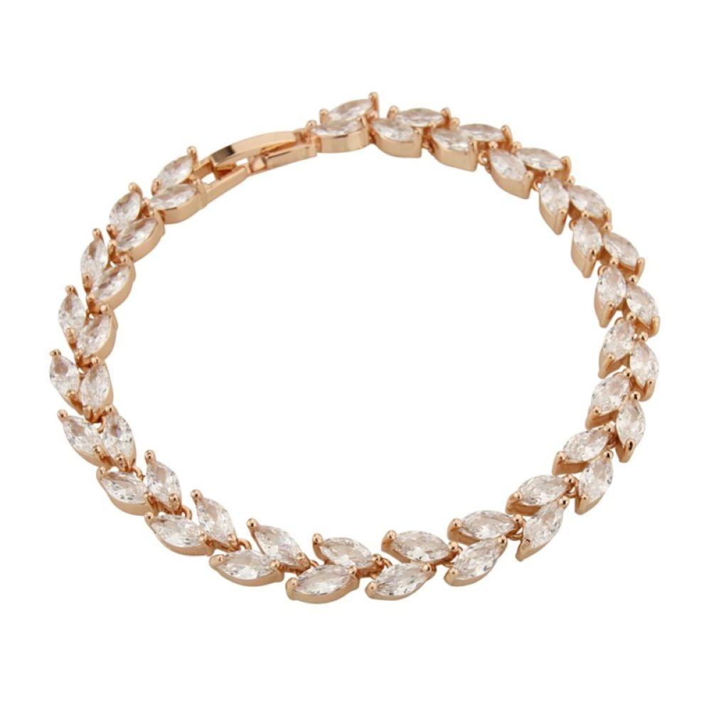 Amara Rose Gold Crystal Vine of Leaves Bracelet