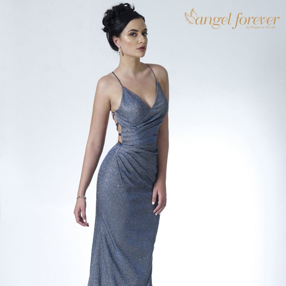Angel Forever Shimmer Fabric V Neck Fitted Backless Prom Dress (Midnight)