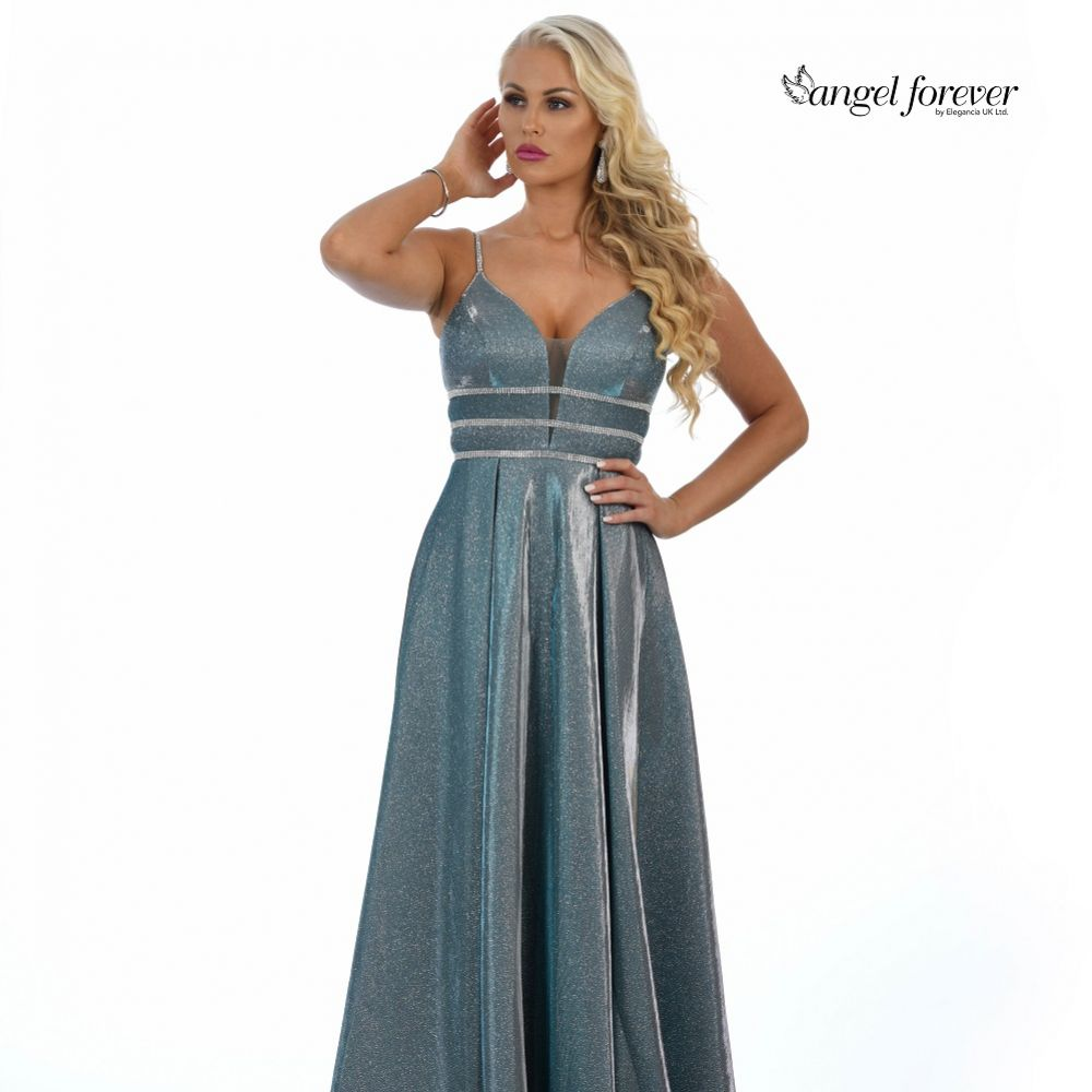 Angel Forever Sparkly A Line Prom Dress with Diamante Detail (Teal)