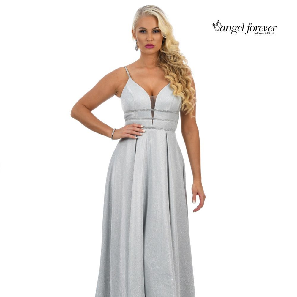Angel Forever Sparkly A Line Prom Prom Dress with Diamante Detail (Silver)
