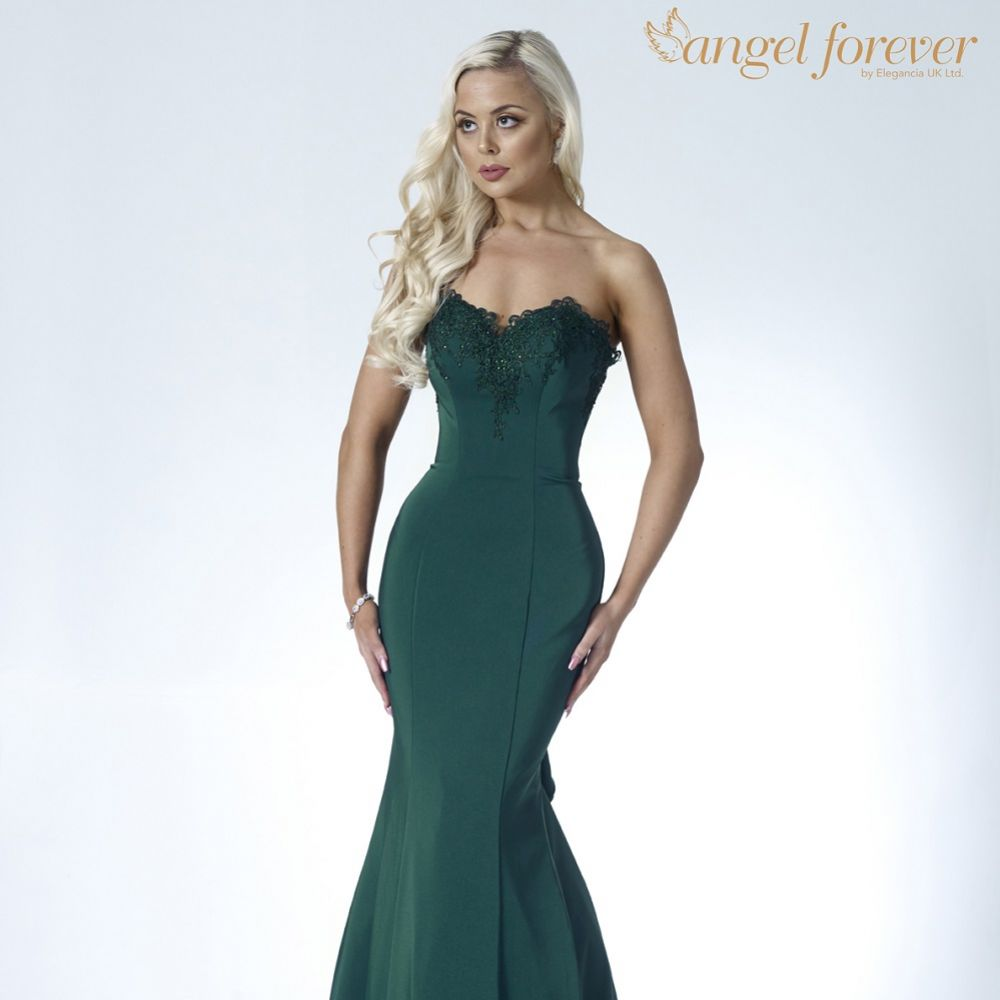 Angel Forever Strapless Mermaid Prom Dress with Lace Detail (Emerald)