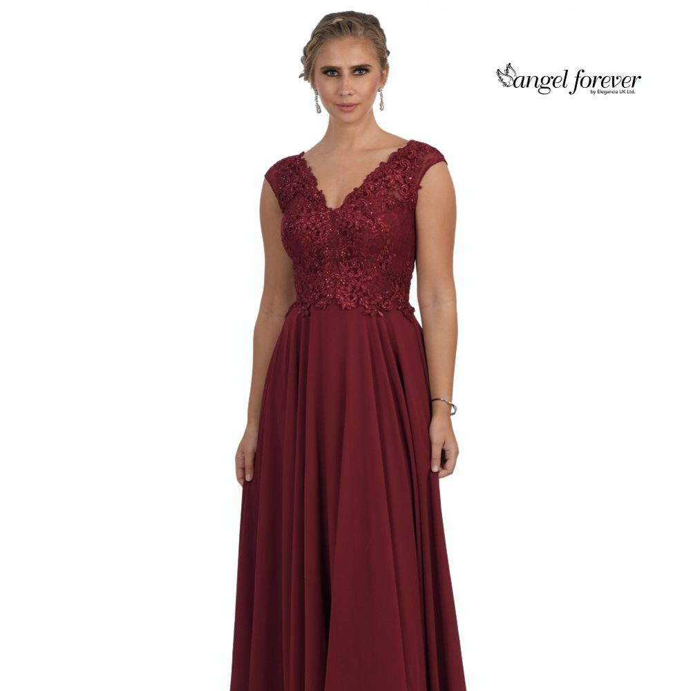 Angel Forever V Neck A Line Chiffon Prom Dress with Lace Bodice (Wine)