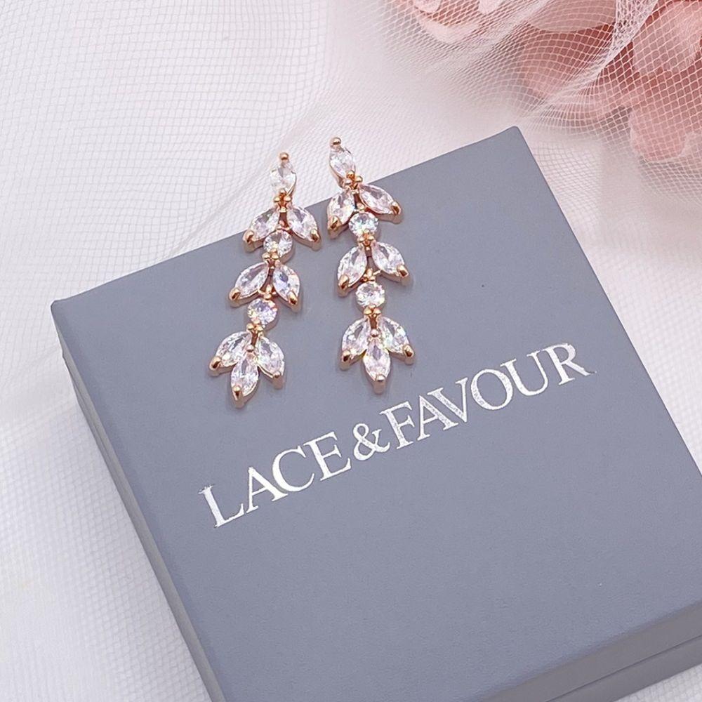 Aria Rose Gold Cubic Zirconia Drop Earrings