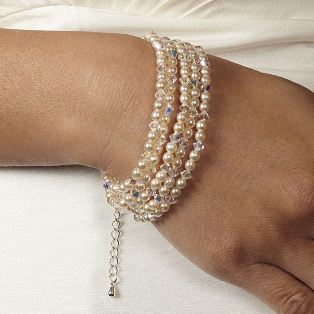 Arianna 5 Strand Pearl and Crystal Wedding Bracelet ARW067