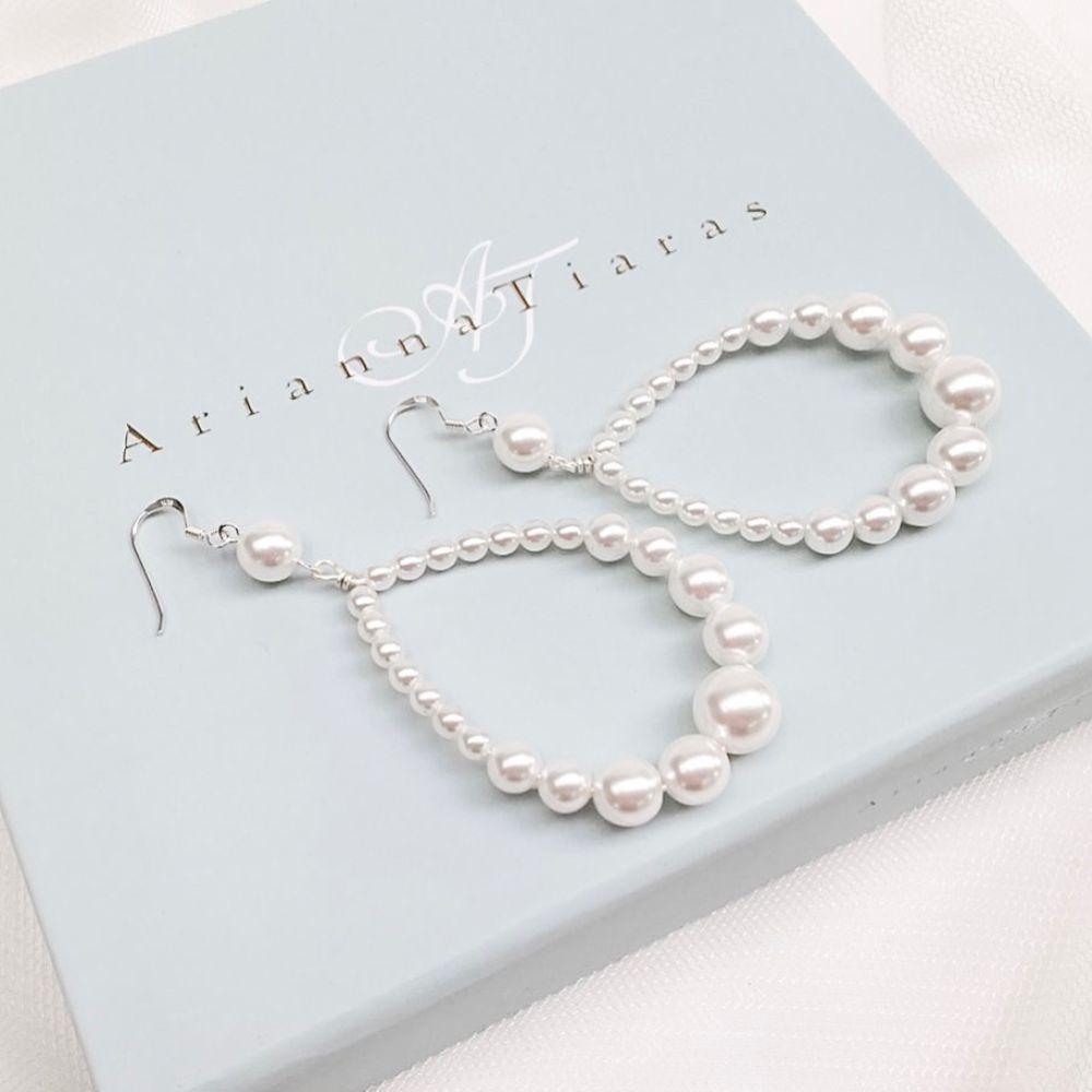 Arianna Amara Teardrop Pearl Hoop Earrings ARE624
