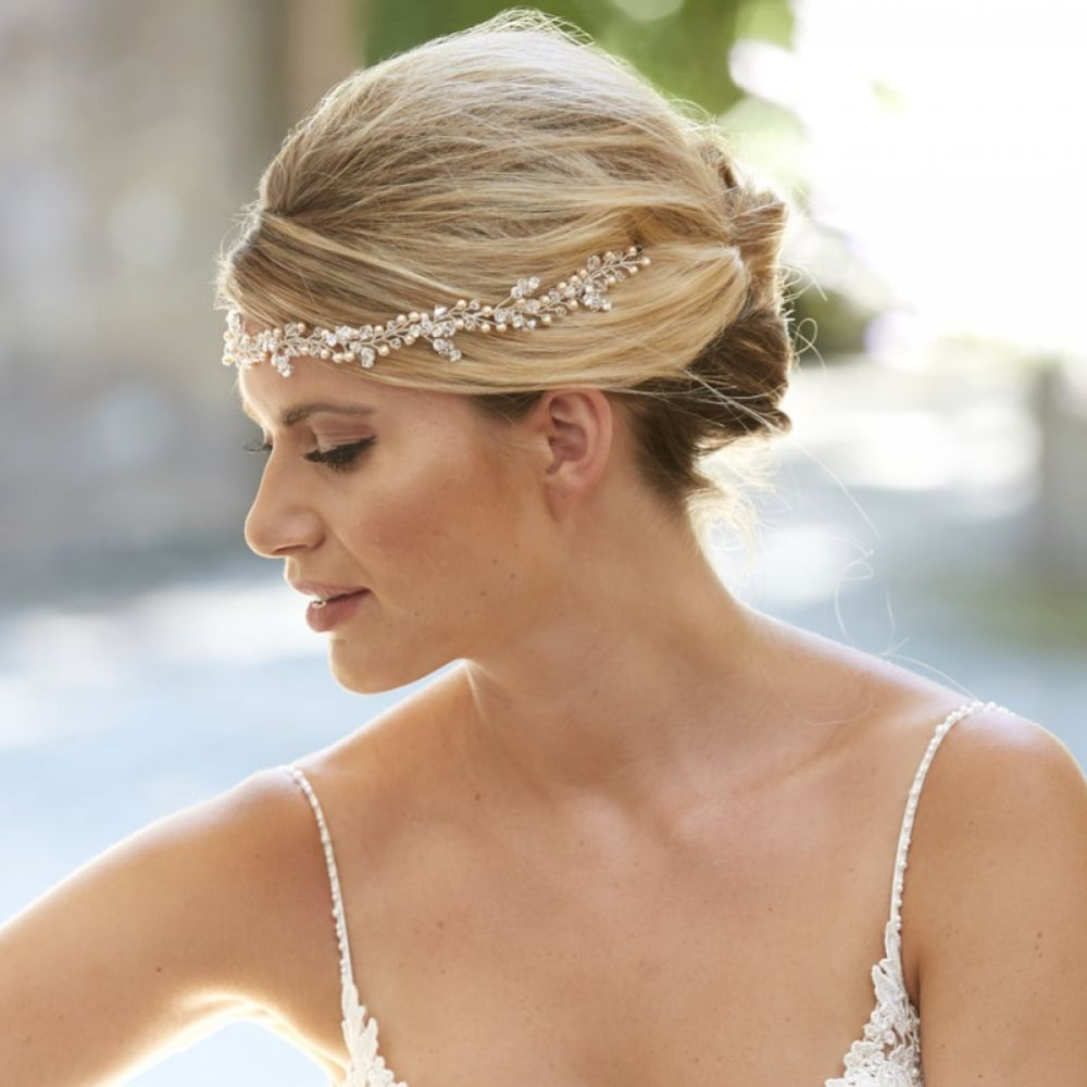 Arianna Andromeda Clustered Pearl and Crystal Hair Vine AR571